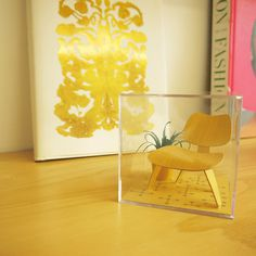 Mini Mid-Century Chair Terrarium #modern #gifts #chair #mid-century #office #cube #design #sculptures #desk #mid #art #century #gold #paper #eames