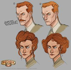Bioshock: Infinite Concept Art by Claire Hummel #head #hair #illustration #concept #art #portraits #drawing #sketch
