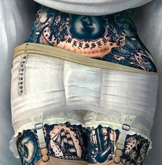 muscavomitoria:Detail Image by Ray Caesar #lingerie #retro #body #tattoo #painting #underwear #skin