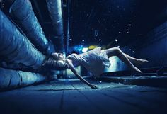500px / Photo #girl #photo #sleeping #dust #women #floating #blue #partical