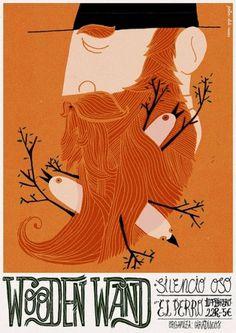 Wooden Wand | Flickr - Photo Sharing! #beard #bird #illustration #poster #typography