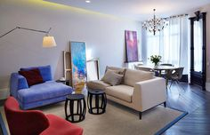 Bright interiors design small apartment