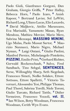 Massimo Minini: Pizzini/Senteces Vol. II, Mousse Publishing, 2013