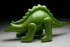Dinosaur - ceramic sculpture by http://brettkernart.com/ #sculpture #balloon #dinosaur #ceramic #green