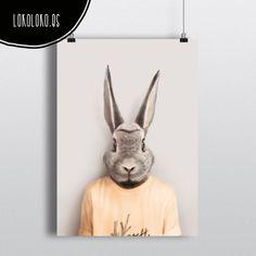 #animals #clothe #fashion #hipster #rabbit #poster