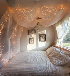 Fresh and Brighttwinkle lights at night #bed #lights #window