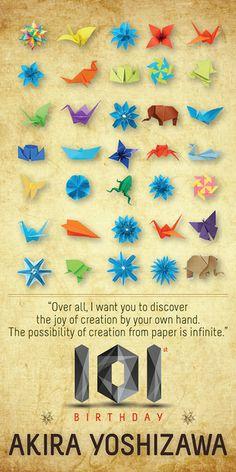 Akira yoshizawa the grandmaster of origami. #101 #origami #handmade #birthday #poster #akirayoshizawa #typo #typography