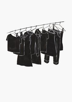 BABY'S IN BLACK - Kaye Blegvad #illustration #ink #clothesline #black