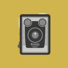 Kodak Brownie #camera #kodak #yellow #bold #brownie #box #simple #illustration