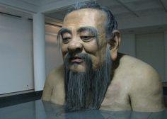 zhang huan: q confucius at rockbund museum #sculpture #museum #oversize #realistic #huge