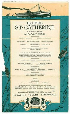 Hotel St-Catherine menu 1922 | Flickr - Photo Sharing!