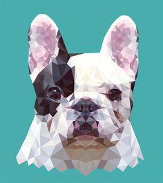 FRENCHIE — Geometric vector animals #vector #frenchie #geometric #illustration #triangle #frenchbulldog #pets #tranimal #dog