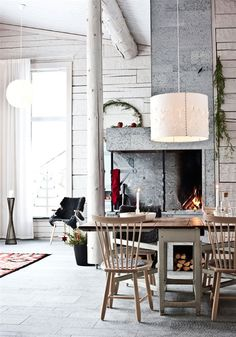 Timber House in Sweden | Miss Design #interior #sweden #concrete #design #decor #fireplace