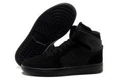 Mens Real Jordan Retro Shoes - All Black Nike Jordan 1 #shoes