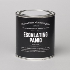A large can of Escalating Panic from Hoxton Street Monster Supplies