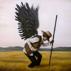 The Scarecrow Takes Flight - Michael Ramstead #scarecrow #field #fantasy #flight #design #illustration #painting #crow #art #raven