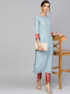 Blue Thread Embroidered Palazzo Suit - Inddus.