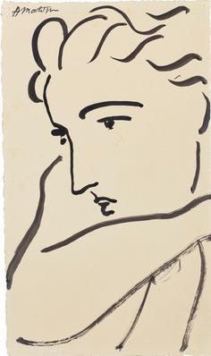 """nobrashfestivity: """" Henri Matisse, Profil de femme, 1946 signed 'H Matisse' (upper left) brush and India ink on paper 13 1/8 x 7 ¾ in. (33.3 x 19.4 cm.) more """""""