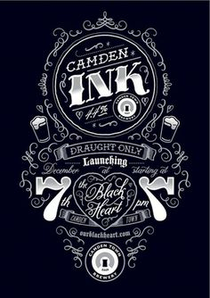 Typography / Poster for Camden Ink launch party by Tenfold Collective #type #lettering