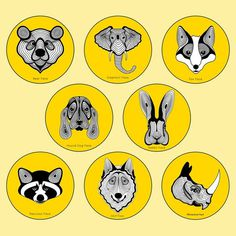 Animals Faces Illustration icons  #icons #logo #symbol #icon #branding #illustration