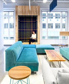 Vivid Office Space by Studio O+A  soft couch place rest