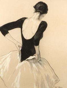 Katya Gridneva - Olga dressing #katya gridneva #dressing #black and white #illustration #back