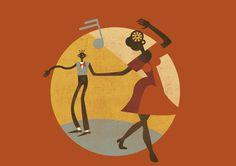 Feel Good Swing Dance School #poster #vintage #swing #lindyhop #illustration #micheletenaglia