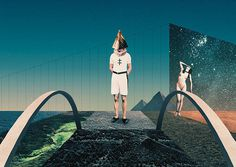 Julien Pacaud / Over The Bridge / colagene.com #man #woman #montage #photo #geometric #illustration #sea #vintage #galaxy #pyramid #bridge #surrealistic #collage
