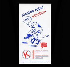 Grafik für Flyer von Nicolas Robel in der Kunsthalle Luzern in Zusammenarbeit mit dem Fumetto Comic Festival #red #illustration #poster #and #blue