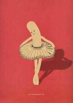 """marco puccini """"l a p a q u e r e t t e"""" Follow me: FACEBOOK INSTAGRAM #illustration #ballet #strange #bizarre #shadow #weird #art"""
