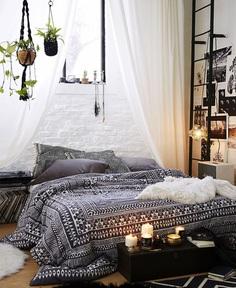 hanging macrame greenery boho bedroom
