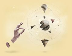 'Slace' by alcalay. #abstract #balloons #design #yellow #space #digital #piece #art #hands #manipulation #3d #moon