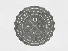 Dribbble Lick Me I'm Delicious by Emma Hopkins #logo #round #retro #vintage