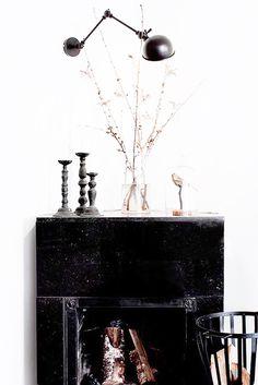black fireplace mantel