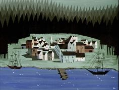 Scene from Disney's Paul Bunyan, styled by Eyvind Earle and Walt Peregoy #illustration #childrens #vintage #books