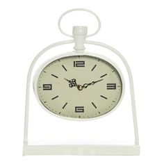 Bassett White Metal Oval Table Clock