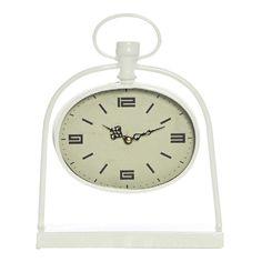 Bassett White Metal Oval Table Clock