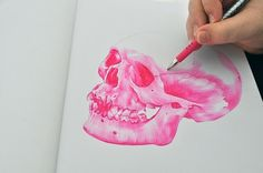 Ballpoint pen drawings. on Illustration Served #pink #skull #drawing
