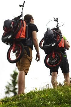 Hiking and biking has never been easier. An ingenious backpack that transforms into a scooter to coast downhill for some serious fun!