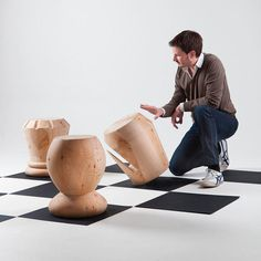 Monolithic Wood Stools Inspired by Chess Pieces #chess #stools