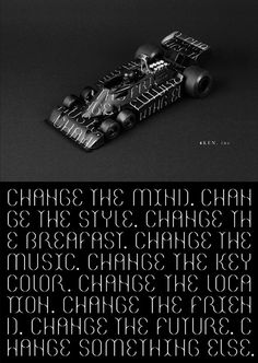 The promotional poster of 4ken. inc. #photo #design #graphic #black #poster #car #typography