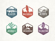 Dribbble_nps_stamps #graphic design #icons #flat #national parks