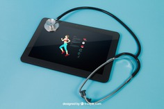 Tablet with sports app and stethoscope Free Psd. See more inspiration related to Mockup, Technology, Template, Medical, Sport, Fitness, Health, Science, Sports, Train, Run, Mock up, Running, Tablet, Modern, App, Pharmacy, Training, Care, Healthcare, Stethoscope, Back, Application, Patient, Lifestyle, Up, Health care, Fit, Jogging, Aid, Mock, Flipped and Get fit on Freepik.