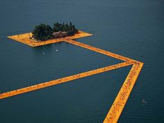 Christo's 'Floating Piers' Artwork Lets You Walk on Water #thefloatingpiers #iseolake