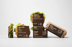 Sandwich, salad and wrap packaging designed by BVD for 7-Eleven Sweden #branding