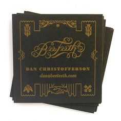 Business Cards - BeeTeeth SLC #business #lee #letterpress #black #christofferson #beeteeth #gold #daniel #cards