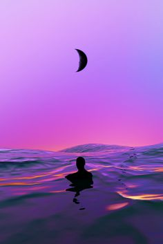Lost Swimmer Artwork by Quentin Deronzier #artwork #ocean #sea #waves #lost #man #purple #pink #moon #dreamy #water #sky