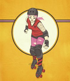 PORTRAITS RONLEWHORN INDUSTRIES #illustration #vintage #portrait #tattoo #yellow #pink #punk #scamihorn #derby #skates #ronlewhorn
