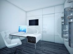 Futuristic Black and White Apartment #office #mac #workspace
