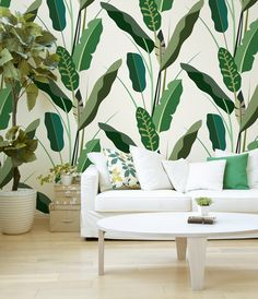 Copacabana Wallpaper 2014 #leaves #leaf #banana #wallpaper #jungle #forest #green #wall #decoration #pattern